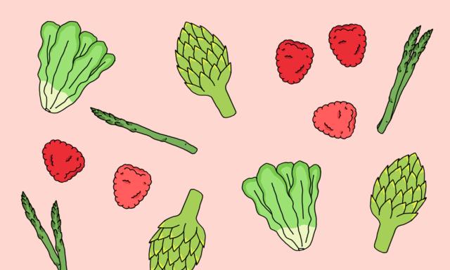 Clean Eating Grafik Zeichnung Gemüse Obst gesundes Essen