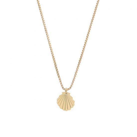 Halskette mit goldenem Muschelanhänger von Malaikaraiss, 64 Euro