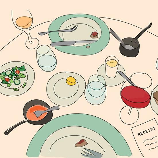 Essengweohnheiten Illustration Essen Teller und Besteck