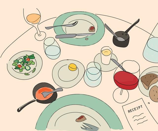 Essensgewohnheiten Tisch Illustration