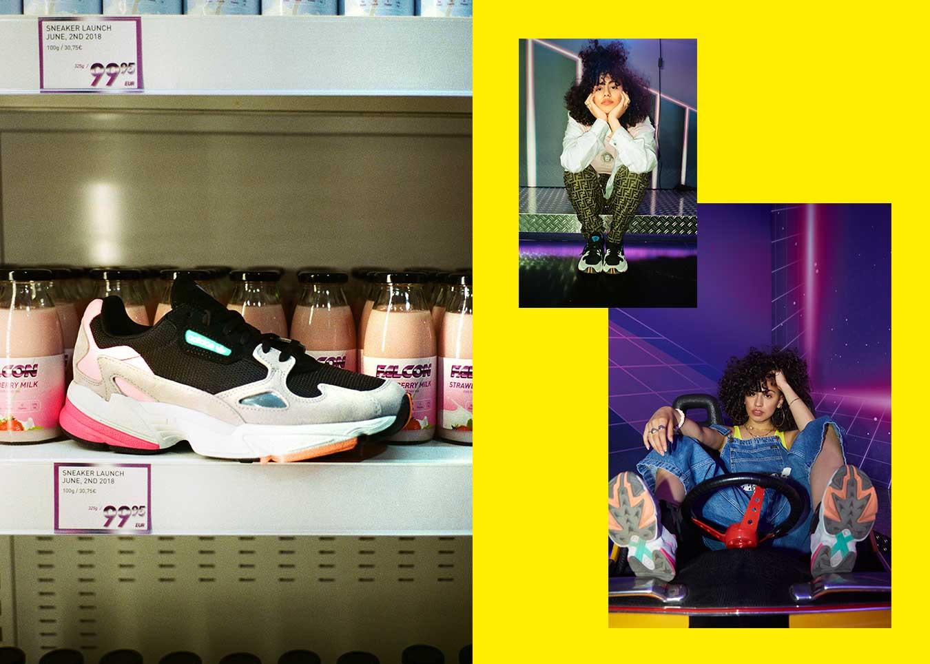 Adidas falcon shooting arcade shop colors farben schuh sneaker 90s