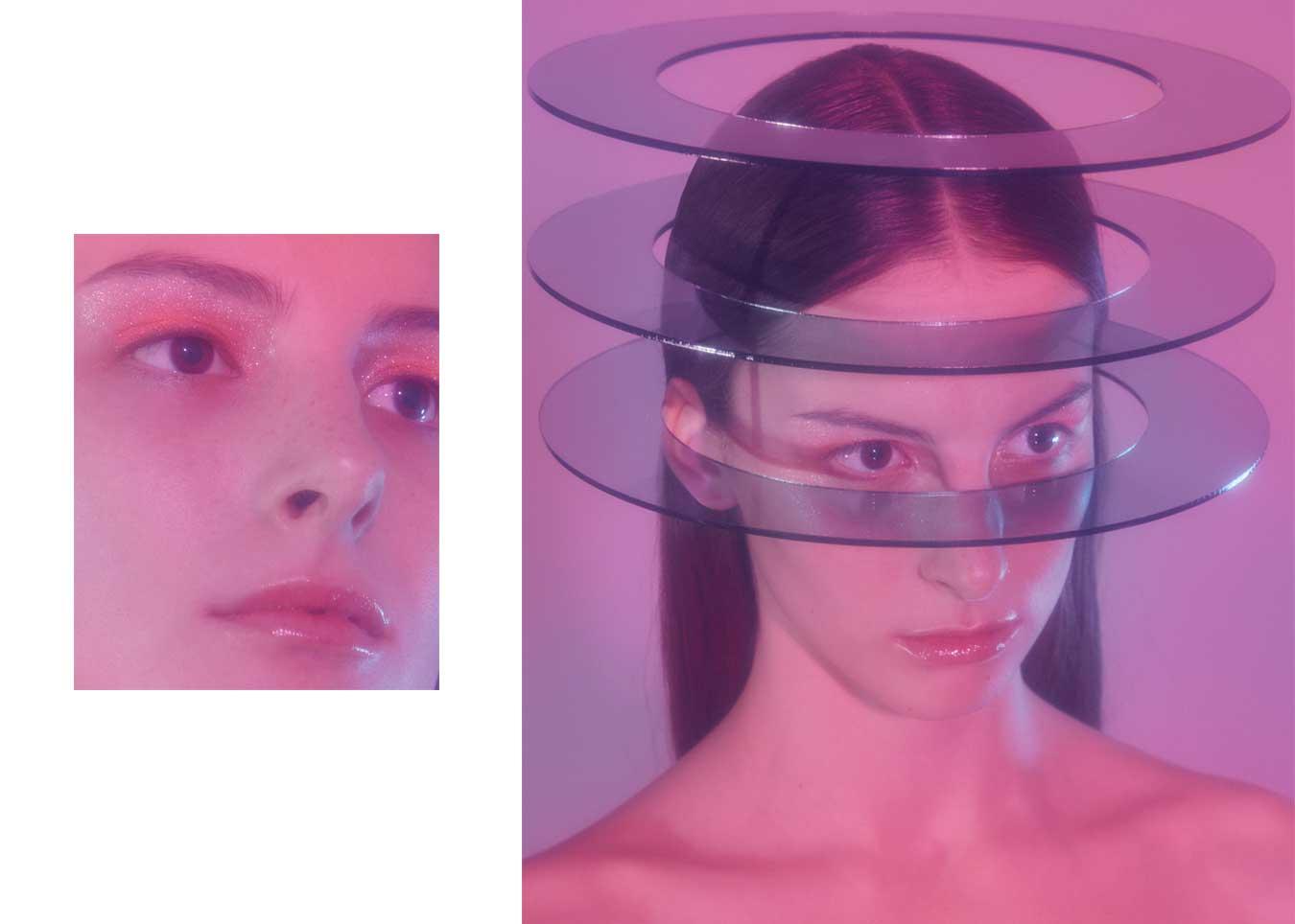 Beauty editorial make up looks plastik pink shine