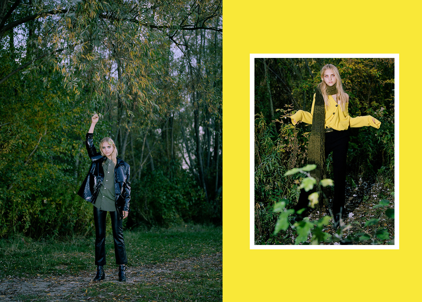 fashion editorial woods wald natur herbst style farben wolle strick mäntel outerwear