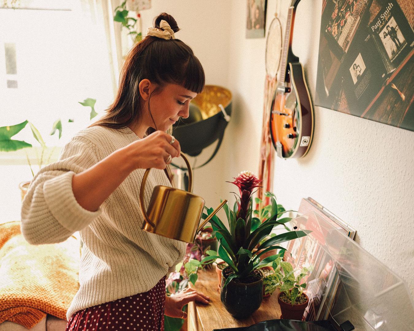 Frau gießt Pflanzen Bromelien
